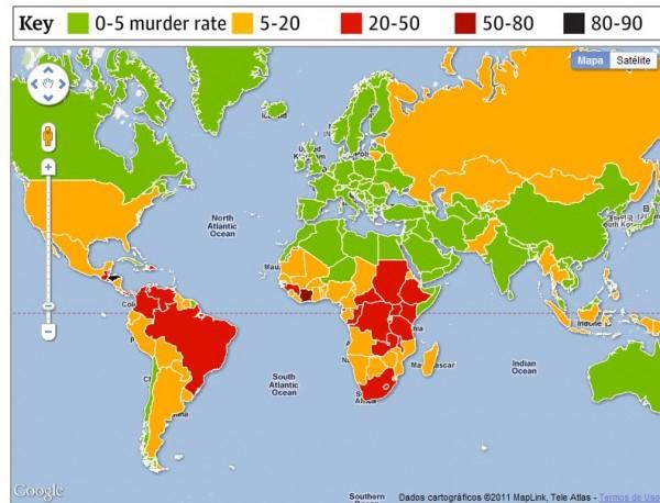Curioso mapa de asesinatos en el mundo
